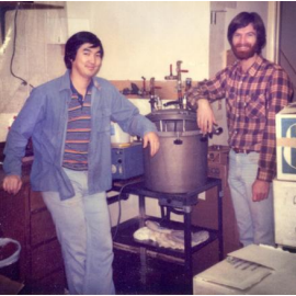 Humble beginnings: Rob and Jay at the first Hardy Media facility in Santa Barbara in 1980.
