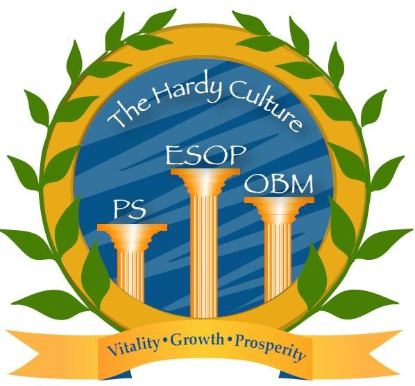 Profit Sharing, Open Book Management, and Employee Ownership form the three basic pillars of the Hardy company culture.